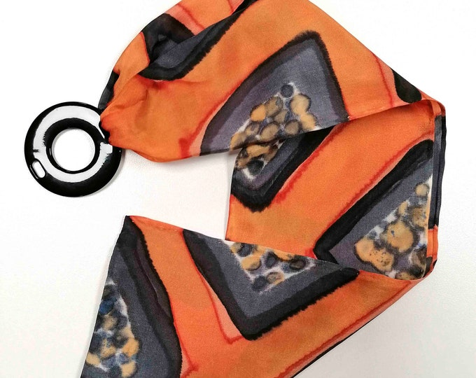Hand painted skinny silk neck scarf. Sixties scarf. Neckerchief with ring for easy tie. Xmas gift. Ready to ship.