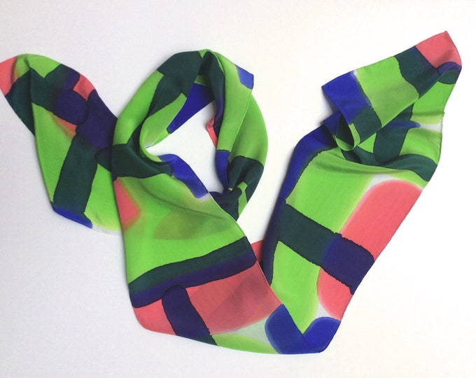 Hand-painted silk scarf. Three in one: headband, belt or scarf. Wearable art