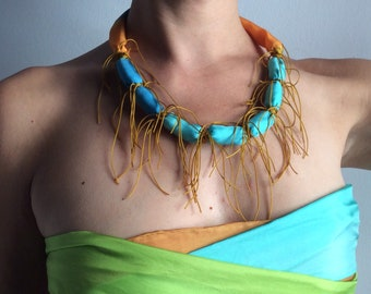 Bold necklace in hand painted silk. Hand painted silk necklace for women.