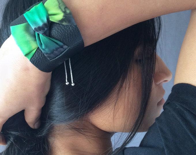 Black leather cuff bracelet for woman. Silk handpainted cuff bracelet. Original bracelet. Gift for woman.
