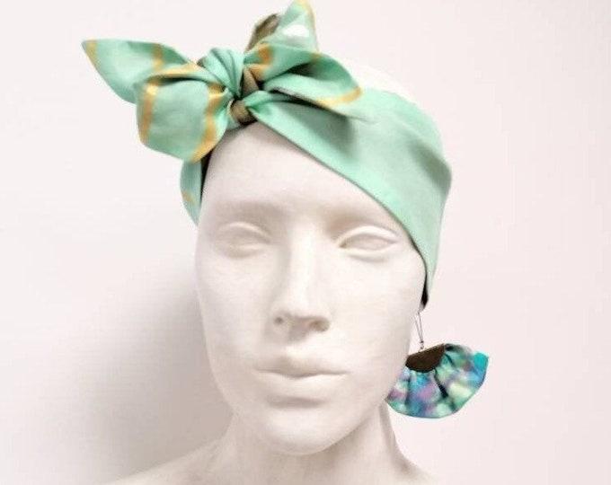 Set turban and earrings, silk headband, scarf women, textile earrings, scarf double-sided, silk bandana,