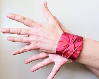 Leather cuff bracelet. Cuff bracelet for woman. Red leather cuff. Silk handpainted cuff bracelet. Textile jewelry. Modern cuff bracelet.