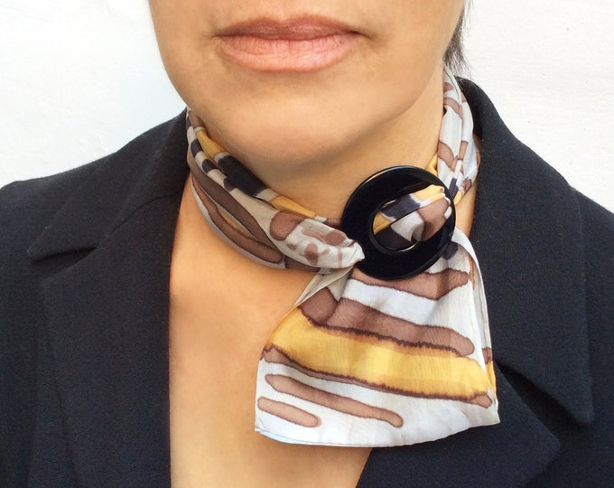 Animal print scarf for woman. Silk scarf hand painted. Ring scarf. Woman gift. Ready to ship.