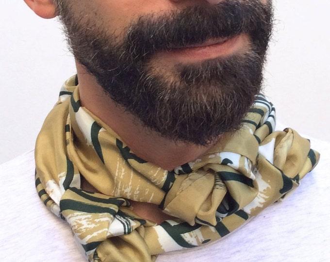 Men gift. Men scarf. Navy scarf. Mediterranean style. Sardines scarf. Design scarf. Gift for him.