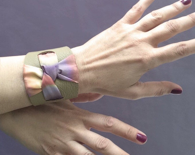 Cuff bracelet for woman. Modern leather jewelry. Leather wrap cuff.
