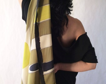 Square scarf. Abstract scarf for woman. Hand painted luxury silk scarf. Scarf for wedding guest. Mother gift. Wearable art.