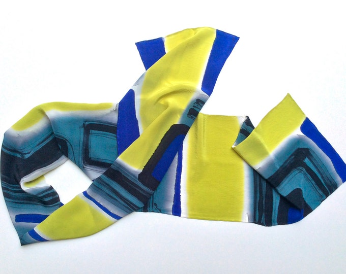 Scarf for Men, Mod men scarf, Gift for Men, Silk Scarf Hand Painted,Mens gift