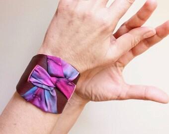 Leather cuff bracelet. Cuff bracelet for woman. Red wine leather cuff. Silk handpainted bracelet. Textile jewelry. Modern cuff bracelet.