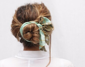 Hair bun scarf, Hairband, headband, Ponytail ribbon, skinny scarf, neck scarf, scarf double-sided, hand painted scarf