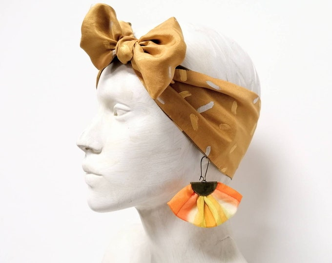Set headband and earrings, silk headband, scarf women, textile earrings, scarf double-sided, silk bandana,