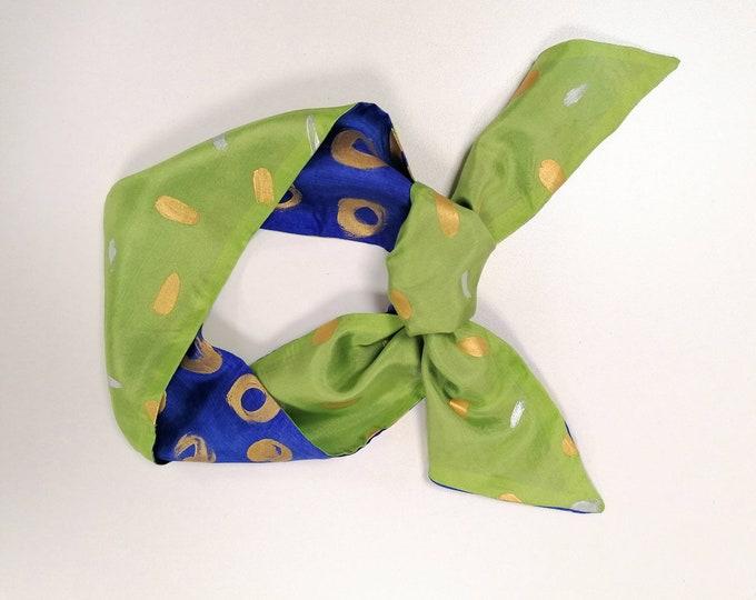 Skinny scarf, neck scarf, silk headband scarf women, twilly scarf, scarf double-sided, silk bandana, hand painted scarf, ready to be shipped