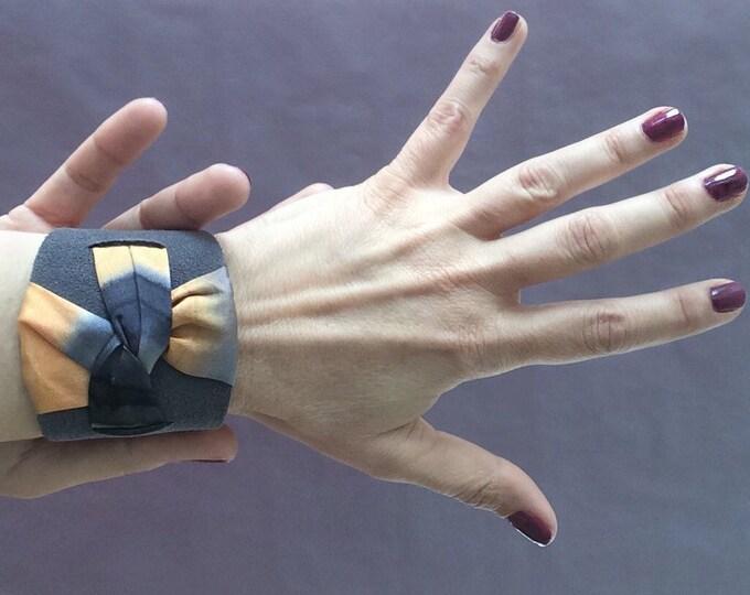 Grey leather cuff bracelet. Boho cuff bracelet. Wrap leather cuff. Bracelet for woman. Gift for her.