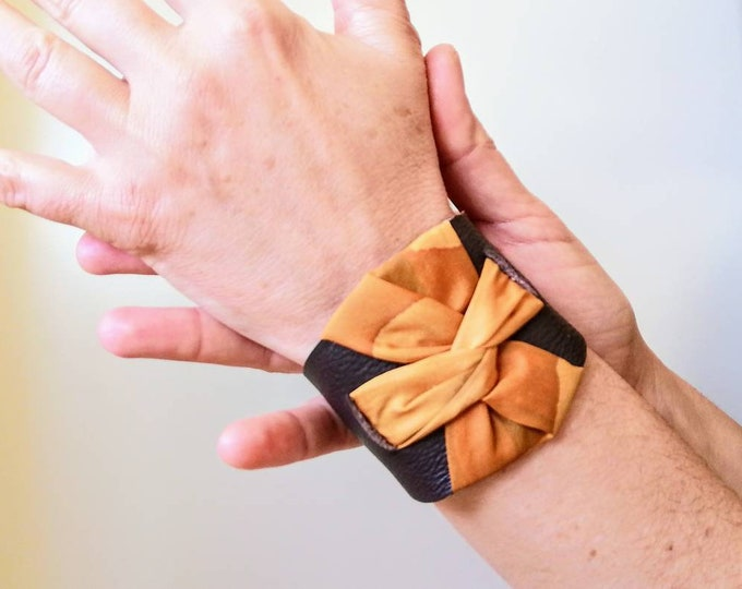 Brown leather cuff bracelet. Bracelet for woman. Silk handpainted cuff bracelet. Textile jewelry. Modern cuff bracelet. Gift for woman.