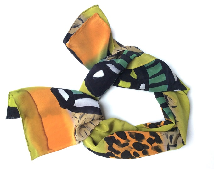 Scarf for woman. Hand painted silk scarf. African inspiration. Wearable art. Ready to be shipped