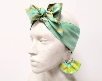 Set earrings and headband, scarf women, textile earrings, scarf double-sided, silk bandana, silk handpainted