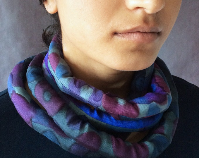 Bold blue and gray necklace. Blue cowl. Hand painted silk infinity scarf. Textil necklace for women. Chunky necklace.