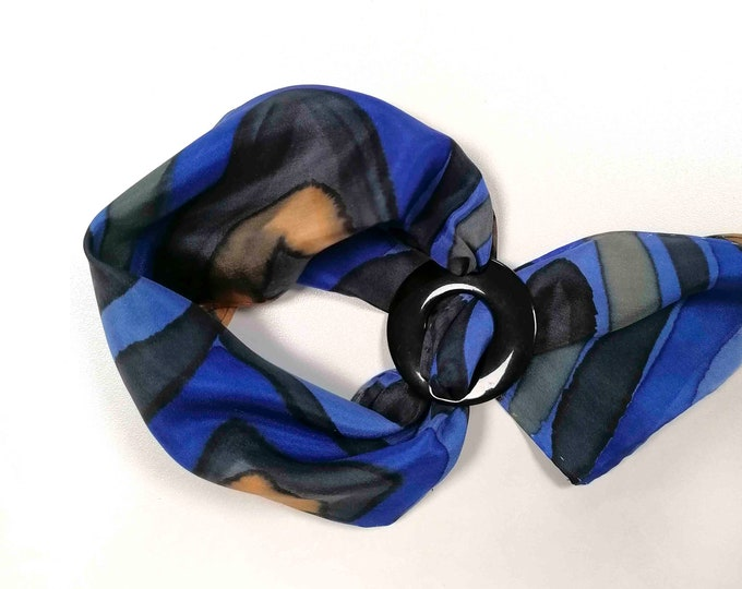 Blue chic sixties scarf for woman. Silk scarf hand painted. Ring scarf. Woman gift. Xmas gift for her. Ready to ship.