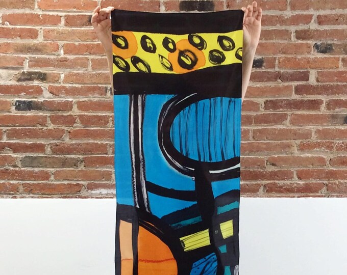Silk scarf. Abstract art hand painted. Original painting.