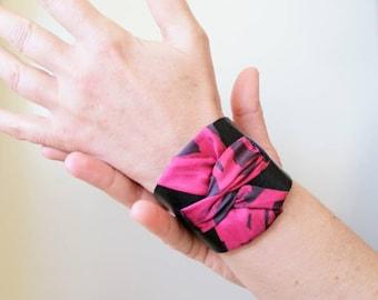 Black leather cuff. Bracelet for woman. Silk handpainted cuff bracelet. Textile jewelry. Original bracelet. Gift for woman.