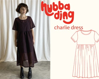 Short sleeve gathered skirt smock dress sewing pattern