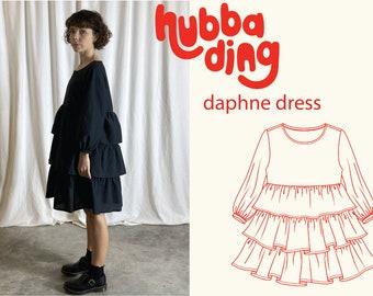Tiered ruffle skirt long sleeve dress sewing pattern