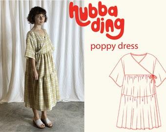 Gathered skirt wrap dress sewing pattern