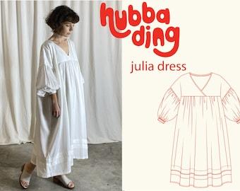 Puff sleeve maxi dress sewing pattern
