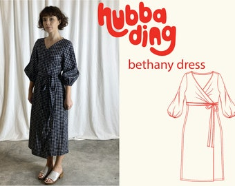 Puff sleeve wrap dress sewing pattern