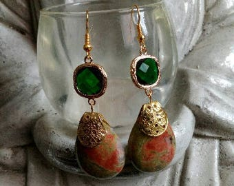 Unakite earrings