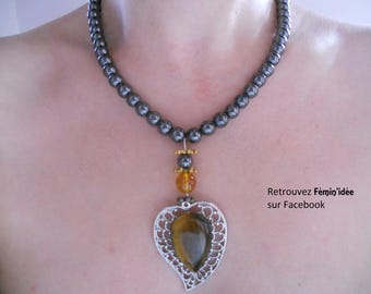 Hematite, Citrine and a tiger eye Cabochon necklace