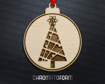 Atomic Christmas Tree Ornament - Laser engraved
