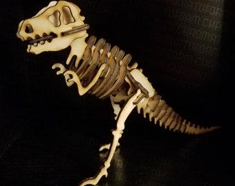 T-Rex 3D Standing Skeleton - Laser engraved