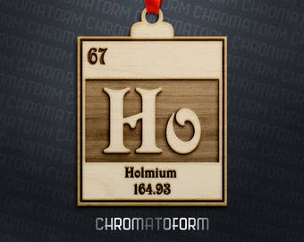 Holmium - Chemical Element Christmas Ornament - Laser engraved