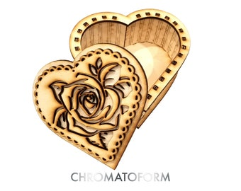 Heart Shaped Box, Rose Design, Valentines Day, Love Box - Laser cut and engraved