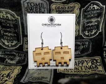 8-Bit Skull Dangly Wood Earrings - Laser engraved