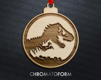 Dinosaur Christmas Ornament - Laser engraved