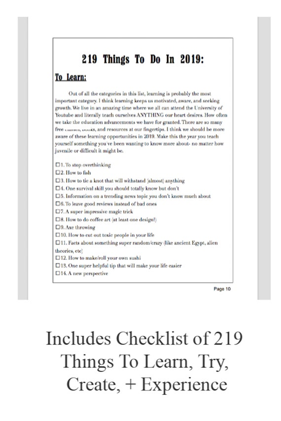 219 Things To Do In 2019 A Pdf Ebook Checklist Calendar More