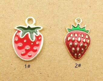 Strawberry Findings Fruit Findings 9x15mm  SCh-228 Strawberry Charms Silver Strawberry Charms 10 pcs Fruit Dangles