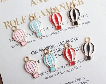 10Pcs Plated Enamel Alloy Hot Air Balloon Charms Pendants DIY Jewelry Findin X