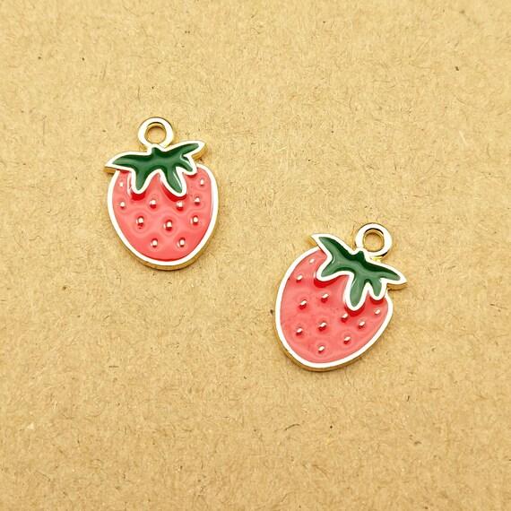 4pcs-gold tone enamel pink Strawberry charm-enamel Fruit Charm-more colors