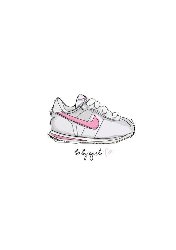 promo code 4064c eae8e ... italy nike cortez baby girl a5 art print for new baby christening etsy  06a8e a6adb