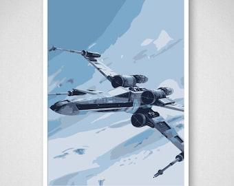 Impression d'Art Star Wars, X-Wing Fighter sur Hoth, affiche de film