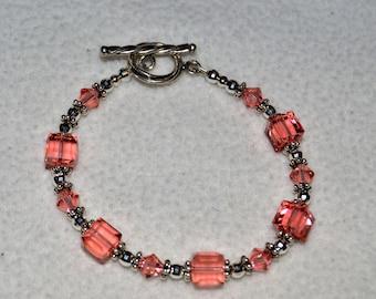 Swarovski Rose Peach Cube Bead Bracelet