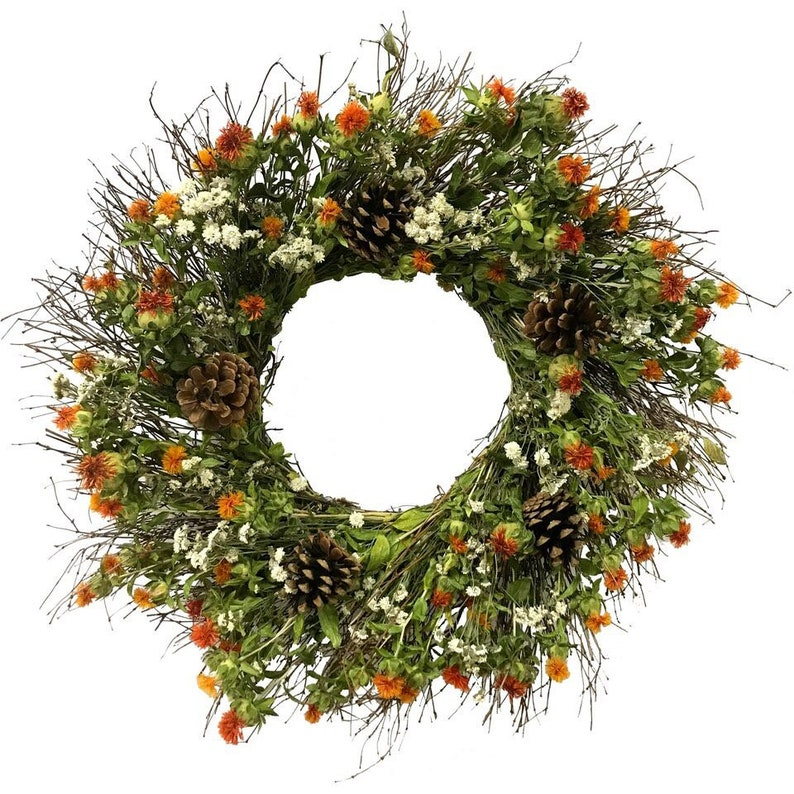 VanCortlandt Farms Autumn Beauty Twig and Dried Flower Wreath With or Without Pinecones
