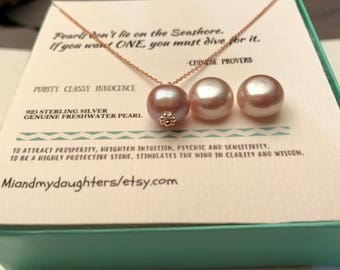 FREE GIFT!! Mother Daughter, Wifey, Best friend AAA Necklace 825 Sterling Silver Lavender, Light Pink/Peach Genuine Freshwater Pearl