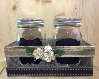 Rustic Mason Jar with crate, chalked stickers,