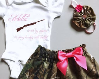 20d173ab50f74 Baby Camouflage Outfit, Realtree or Mossy Oak, Girls' Clothing, Baby Girl  Camouflage Outfit, Pack my diapers I'm going hunting with daddy