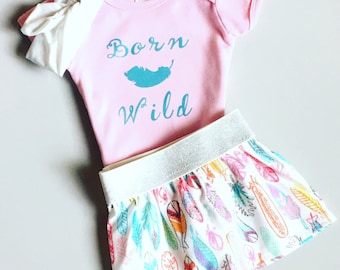 Born Wild Baby Outfit, Turquoise and Pink Baby Outfit, Feather Outfit, Colorful Outfit, Baby Shower Gift, New Baby Outfit, Ready to Ship
