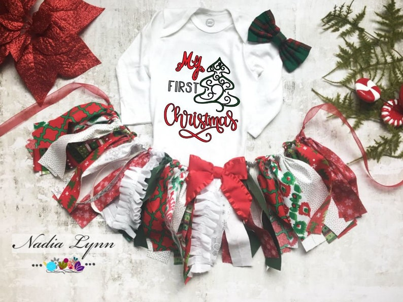 38abccca31b2 Personalized First Christmas Outfit Baby Girl Christmas   Etsy