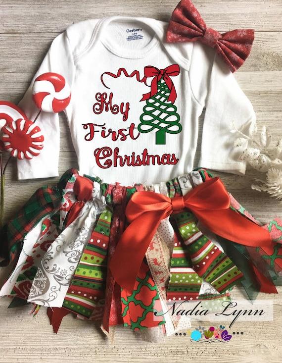 aaf7d13b9bd43 Mon premier Noël bébé Noël tenue arbre de Noël rouge et vert